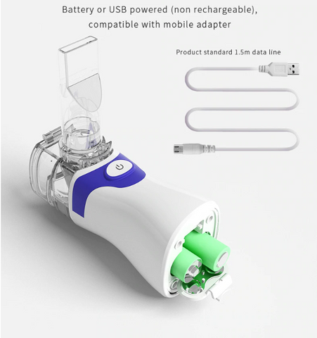 FactCare™ Portable Breathing Treatment Nebulizer Inhaler Machine battery and USB cable powered