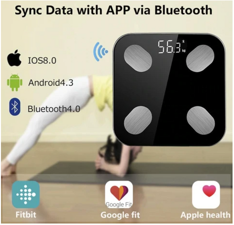 FactFit™ Bluetooth Body Fat Percentage Fittrack Weight Scale can connect via bluetooth and syncs with fitbit, apple health and google fit