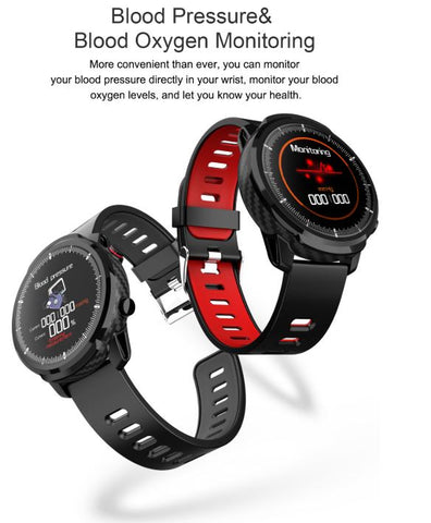 FactBand™ Blood Pressure Smart Watch and Health Tracker Heart Rate Monitor color black and red