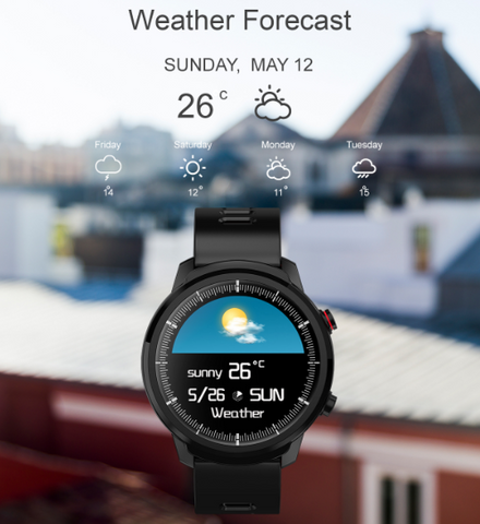 FactBand™ Blood Pressure Smart Watch and Health Tracker Heart Rate Monitor have a weather forecast