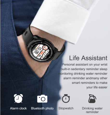 A man wearing the FactBand™ Blood Pressure Smart Watch and Health Tracker Heart Rate Monitor