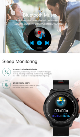 FactBand™ Blood Pressure Smart Watch and Health Tracker Heart Rate Monitor use in listening to the music and monitor sleep