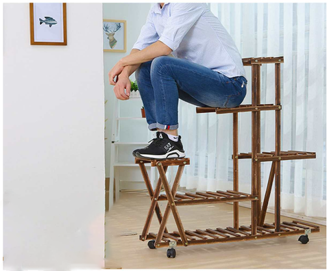FactDesign™ 5 Tier Wooden Plant Stand With Wheels made of thick material