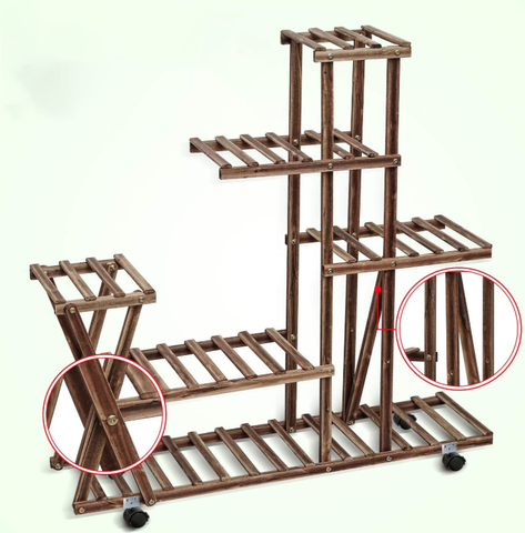 FactDesign™ 5 Tier Wooden Plant Stand With Wheels with x shaped design