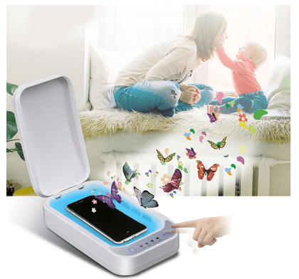Mom and child with the FactCare™ Portable UV Light Sterilizer Disinfection Box Cleaner
