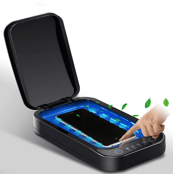 A mobilephone inside the FactCare™ Portable UV Light Sterilizer Disinfection Box Cleaner