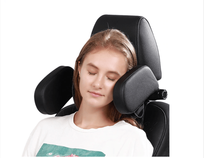A lady sleeping comfortably using the FactCare™ Adjustable Car Seat Headrest Travel Neck Pillow Support