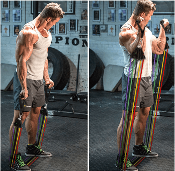 A man working out his arms using the FactFit™ Fitness Resistance Exercise Elastic Bands Set For Workout