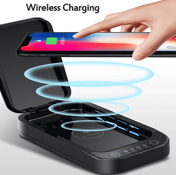 A mobile phone using the feature of wireless charging of FactCare™ Portable UV Light Sterilizer Disinfection Box Cleaner