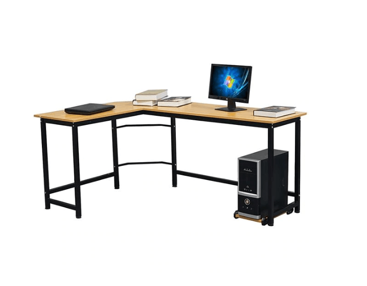 Computer and Laptop on top of FactDesign™ L-Shaped Computer Desk