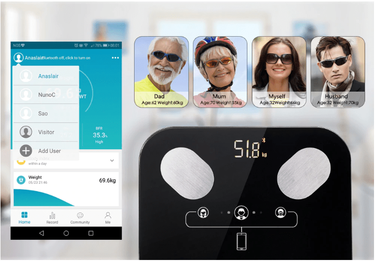 Bluetooth Body Fat Scale auto recognition upto 8 users