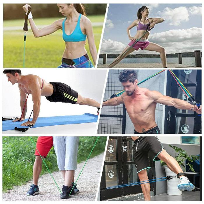 Woman and man using the FactFit™ Fitness Resistance Exercise Elastic Bands Set For Workout