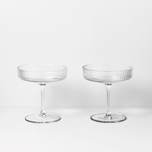 GLAS - ripple champagne saucer (set of 2)