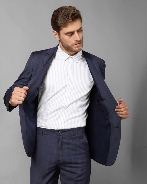 Navy Checked Wool Blend Blazer