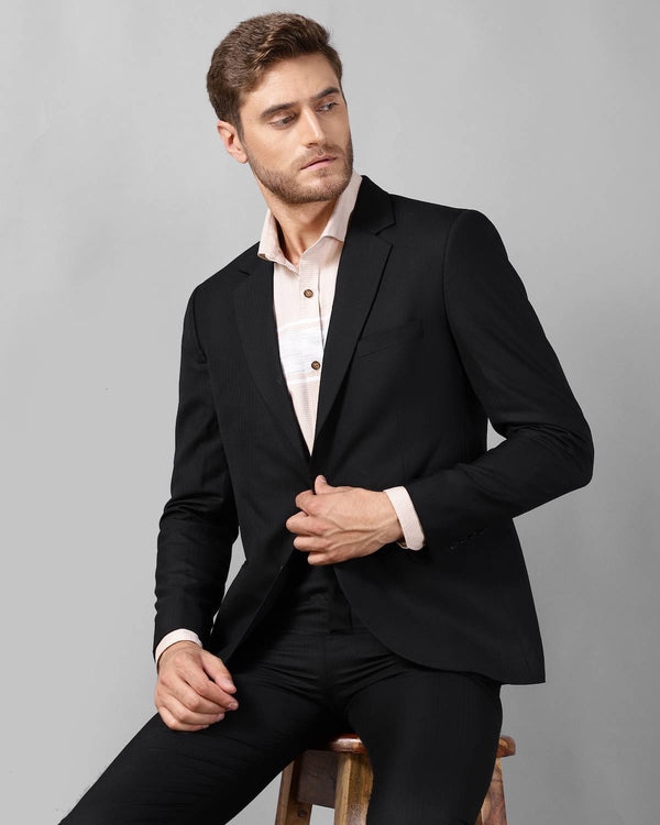 Black Slim Fit Wool Twill Suit