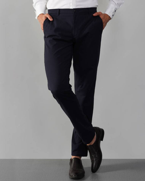 Navy Cotton Blend Chino Trouser