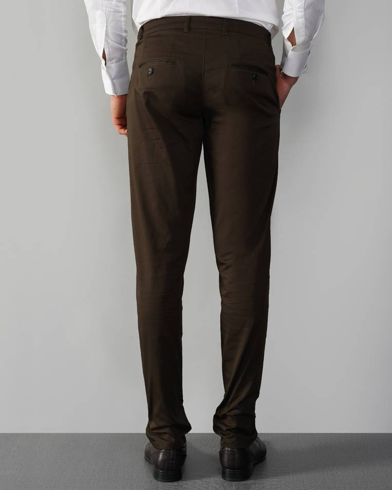 Cotton Blend Brown Chino Trouser