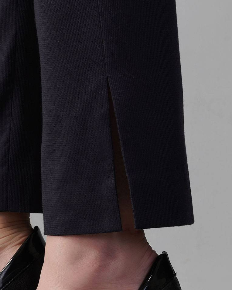Navy Side-Slit Ankle Pants