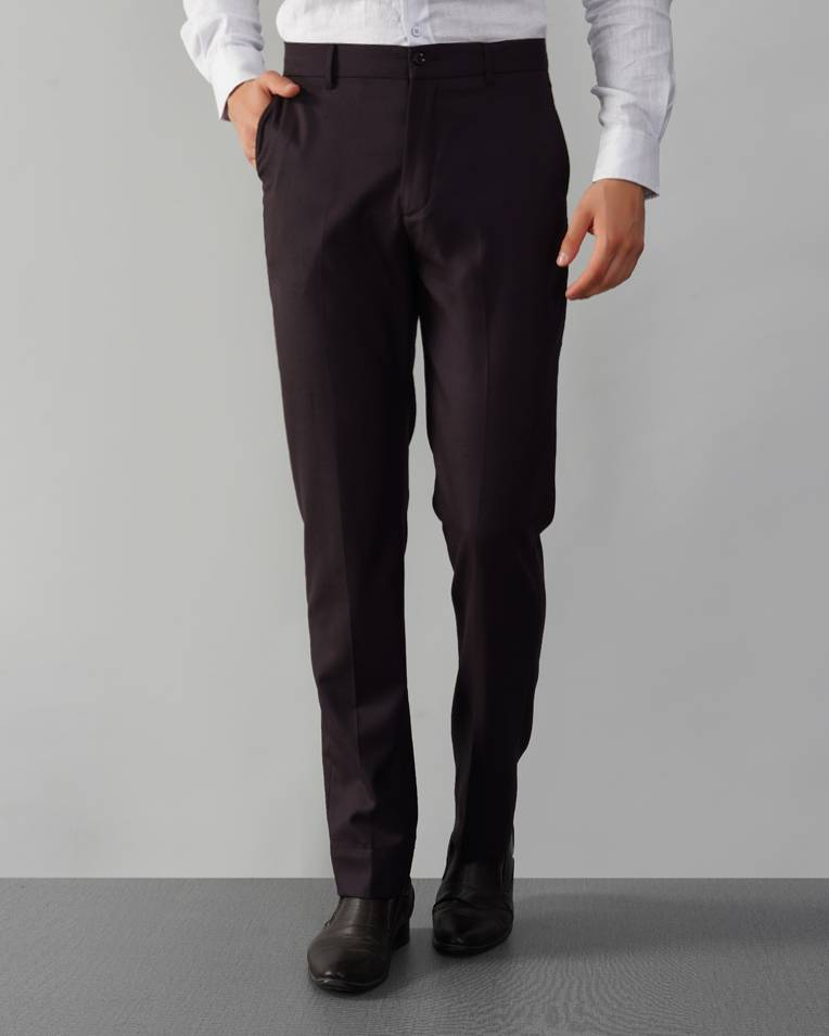 Wine Wool-Twill Suit Trousers