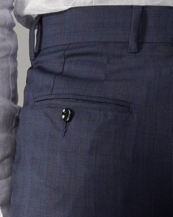 Navy Wool-blend Suit Trousers