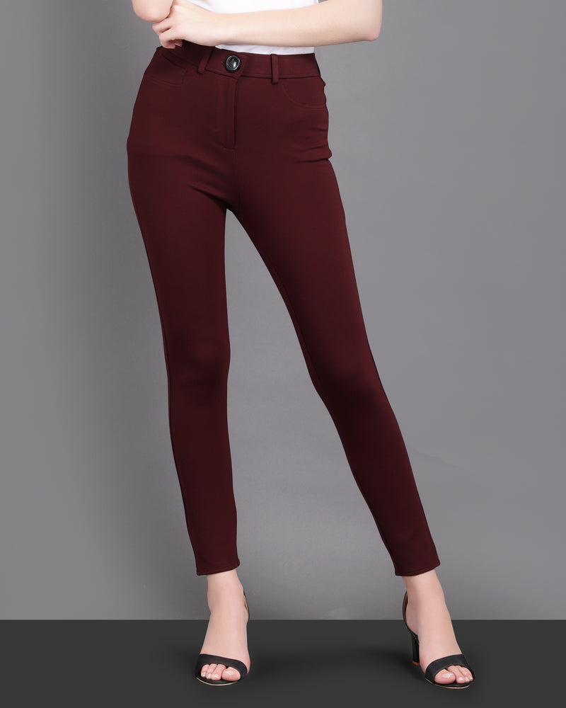 Cotton High Waist Jeggings with Front Zip closure