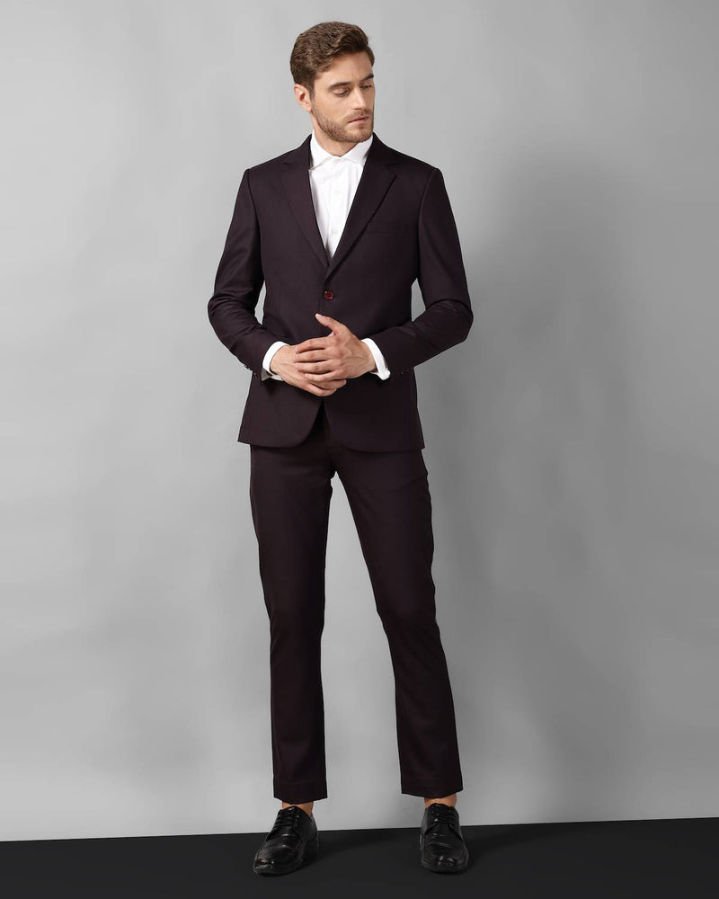 Wine Checked Wool Blend Business Suit