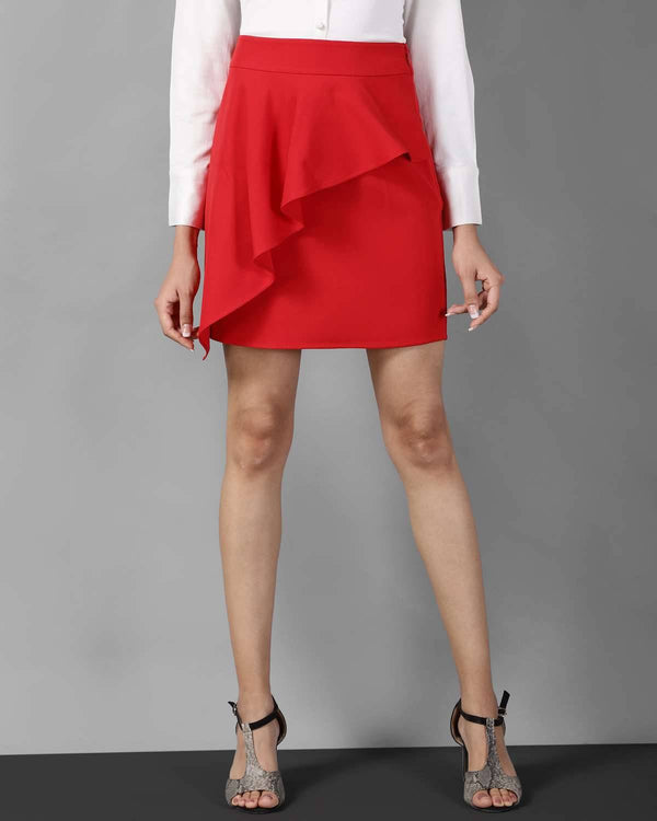 Stretch Crepe Mini Skirt
