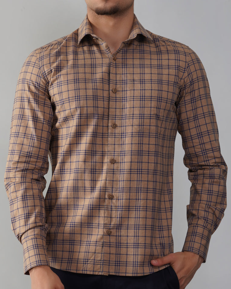 Mitered Cuff Brown Checked Shirt