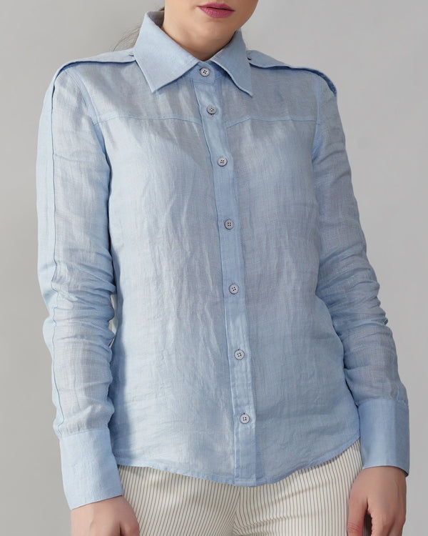 Summer Linen Shirt with Button Epaulettes