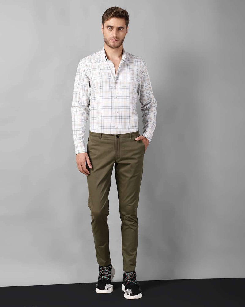 Olive Stretch-Cotton Chino Trouser