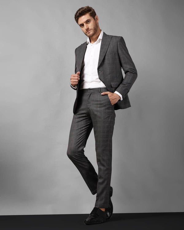 Grey Unstructured Check Cotton -Blend Suit