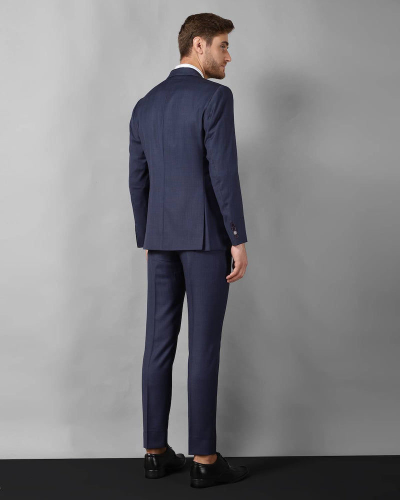Navy Checked Wool Blend Business Suit