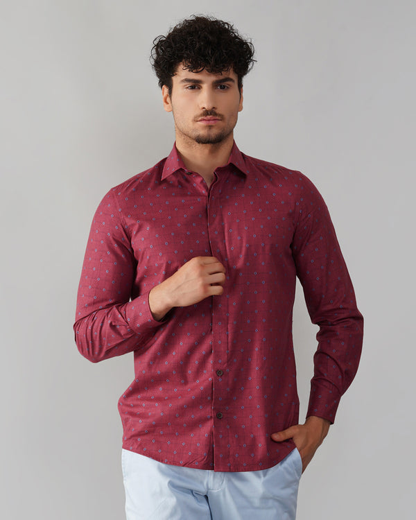 All Over Embroidered Motif Oxford Shirt