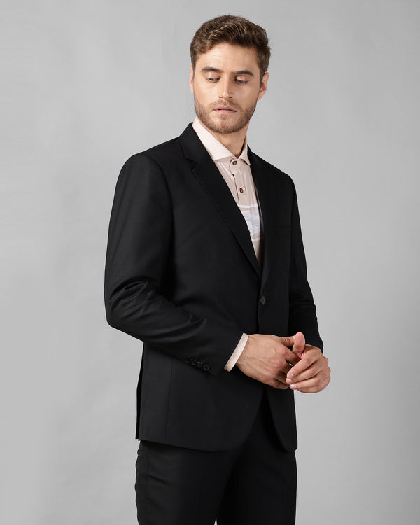 Black Slim Fit Wool Twill Blazer