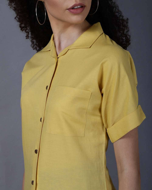 Cotton Linen Mustard Shirt