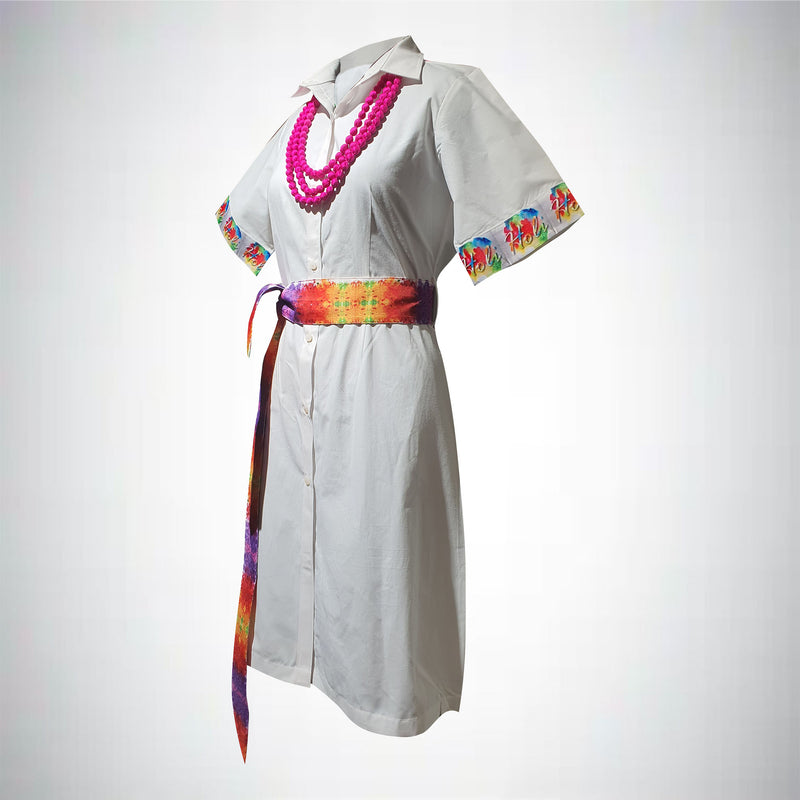 Holi Hai - Cotton Shirt Dress with Belt and Statement piece