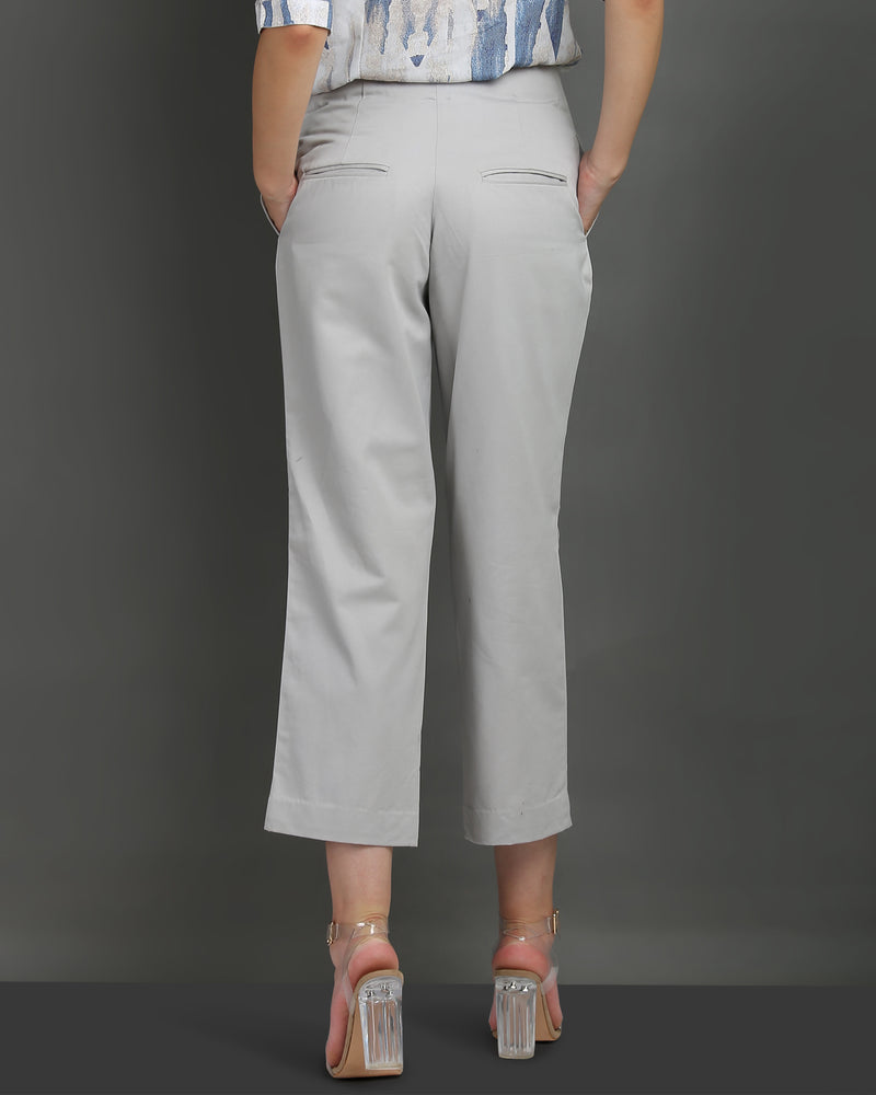 Grey Cropped Wide-Leg Pants