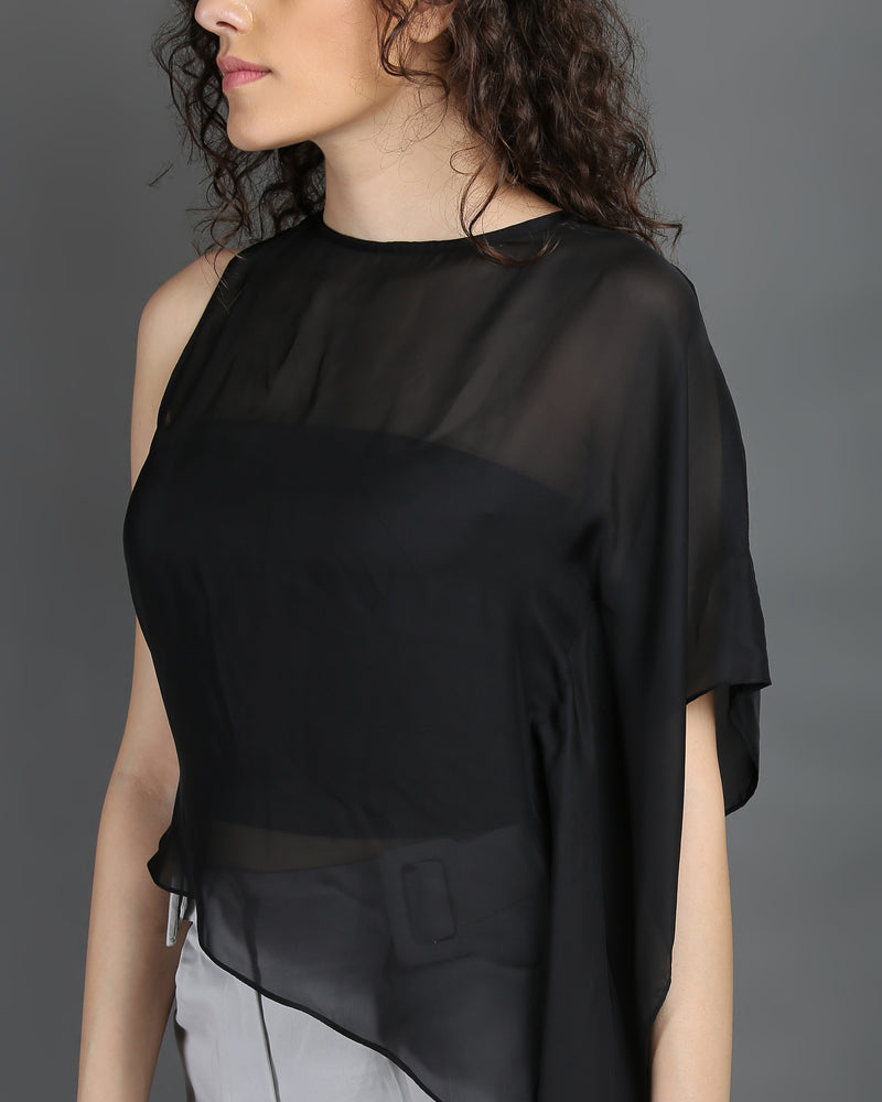 Black Overlay Top with Slip