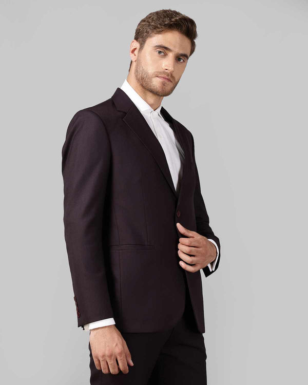 Wine Checked Wool Blend Blazer