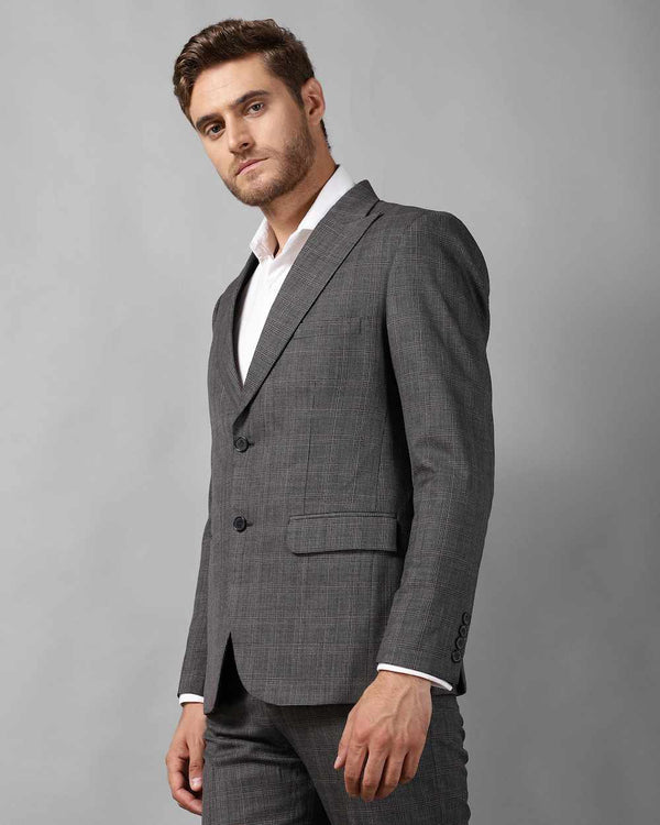 Grey Unstructured Cotton-Blend Blazer