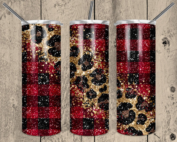Glitter Leopard and Buffalo Plaid 20 oz Double Walled Insulated Tumbler