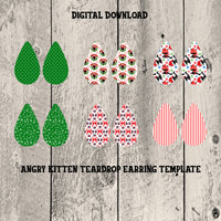 Angry Cat Christmas Teardrop Earrings Digital Template