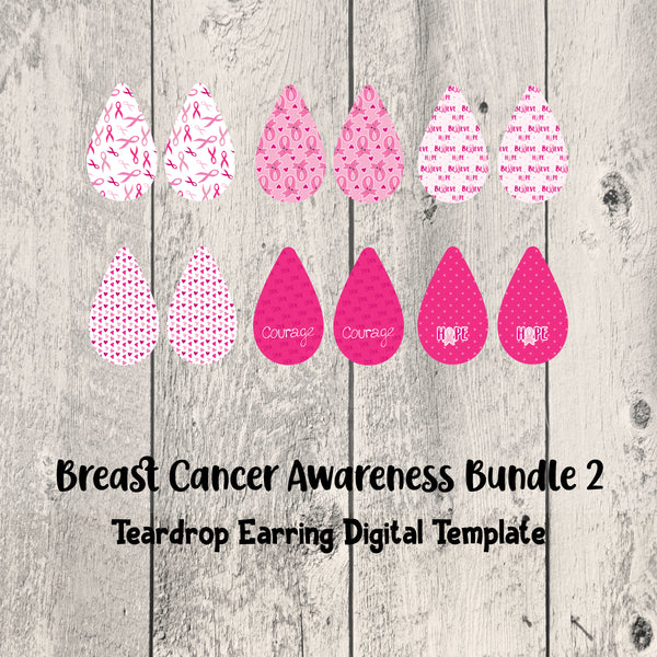 Breast Cancer Awareness Teardrop Earrings Set 2 Digital Template