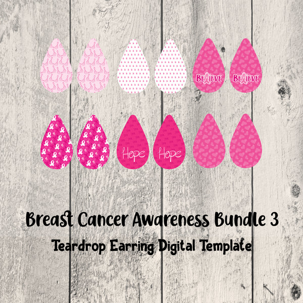 Breast Cancer Awareness Teardrop Earrings Set 3 Digital Template