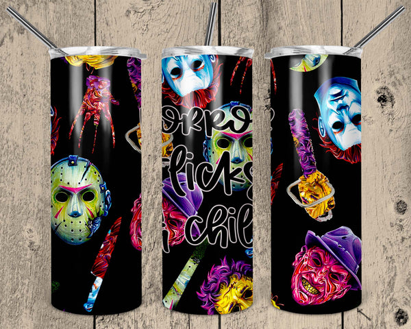 Horror Flicks & Chill 20 oz Double Walled Insulated Tumbler