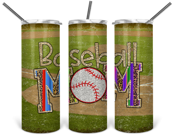 Baseball Mom Straight or Tapered 20 oz Skinny Tumbler Sublimation Transfer  BMP017