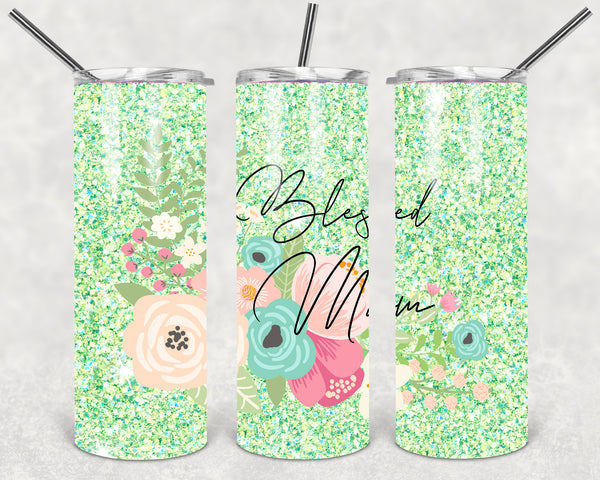 Blessed Mom Straight or Tapered 20 oz Skinny Tumbler Sublimation Transfer  BMP042