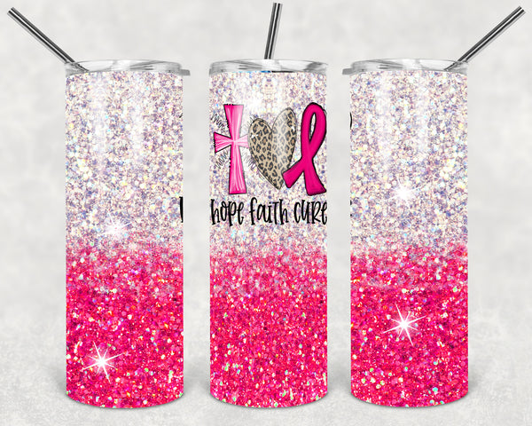 Breast Cancer Awareness Straight or Tapered 20 oz Skinny Tumbler Sublimation Transfer  BMP045