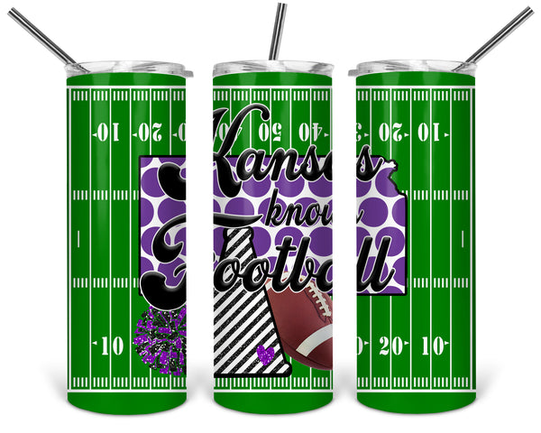 Kansas Knows Football Straight or Tapered 20 oz Skinny Tumbler Sublimation Transfer  BMP057