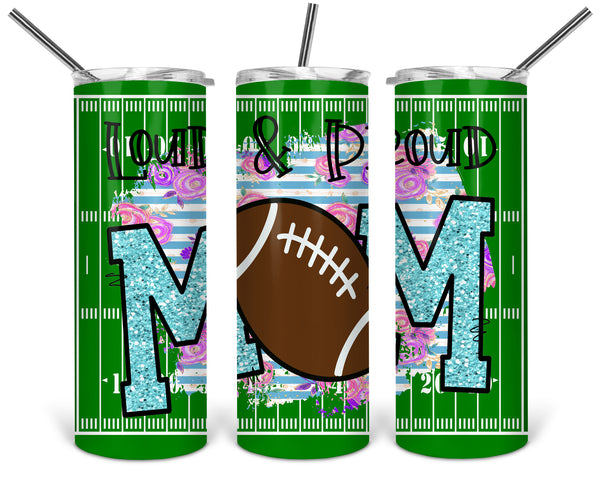 Football Mom Straight or Tapered 20 oz Skinny Tumbler Sublimation Transfer  BMP067